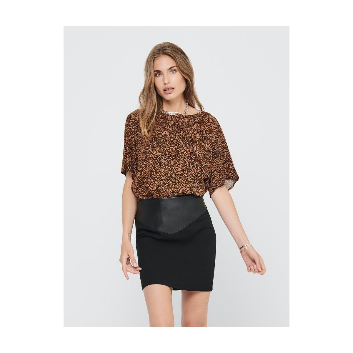 jdypearl s/s top wvn 15209000 jacqueline de yong t-shirt black/leather brown