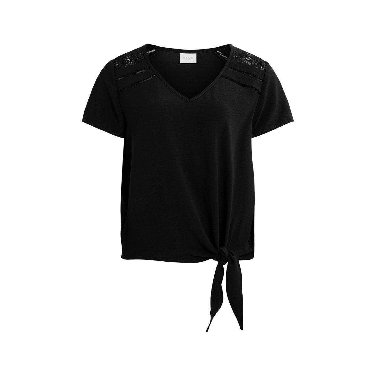 virasha lace v-neck s/s top 14058634 vila t-shirt black