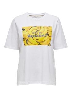 ONLAVA LIFE BOXY S/S FRUIT TOP CS J 15208637 Bright White/BANANA