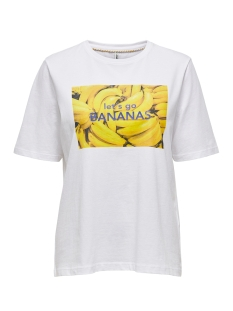 Only T-shirt ONLAVA LIFE BOXY S/S FRUIT TOP CS J 15208637 Bright White/BANANA