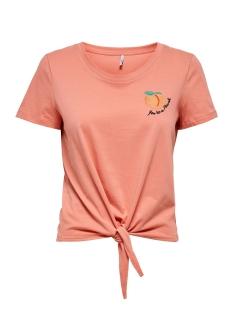 Only T-shirt ONLFRUITY LIFE S/S TOP BOX JRS 15206148 Terra Cotta/PEACH