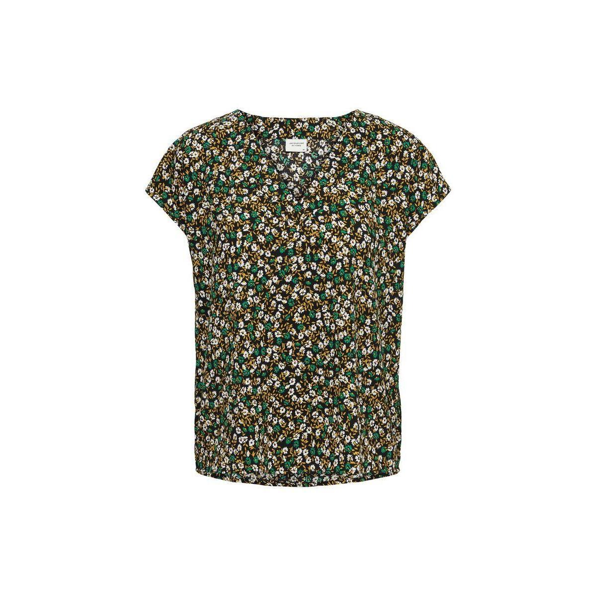 jdylion ss v-neck top wvn 15207812 jacqueline de yong t-shirt black/cloud dancer