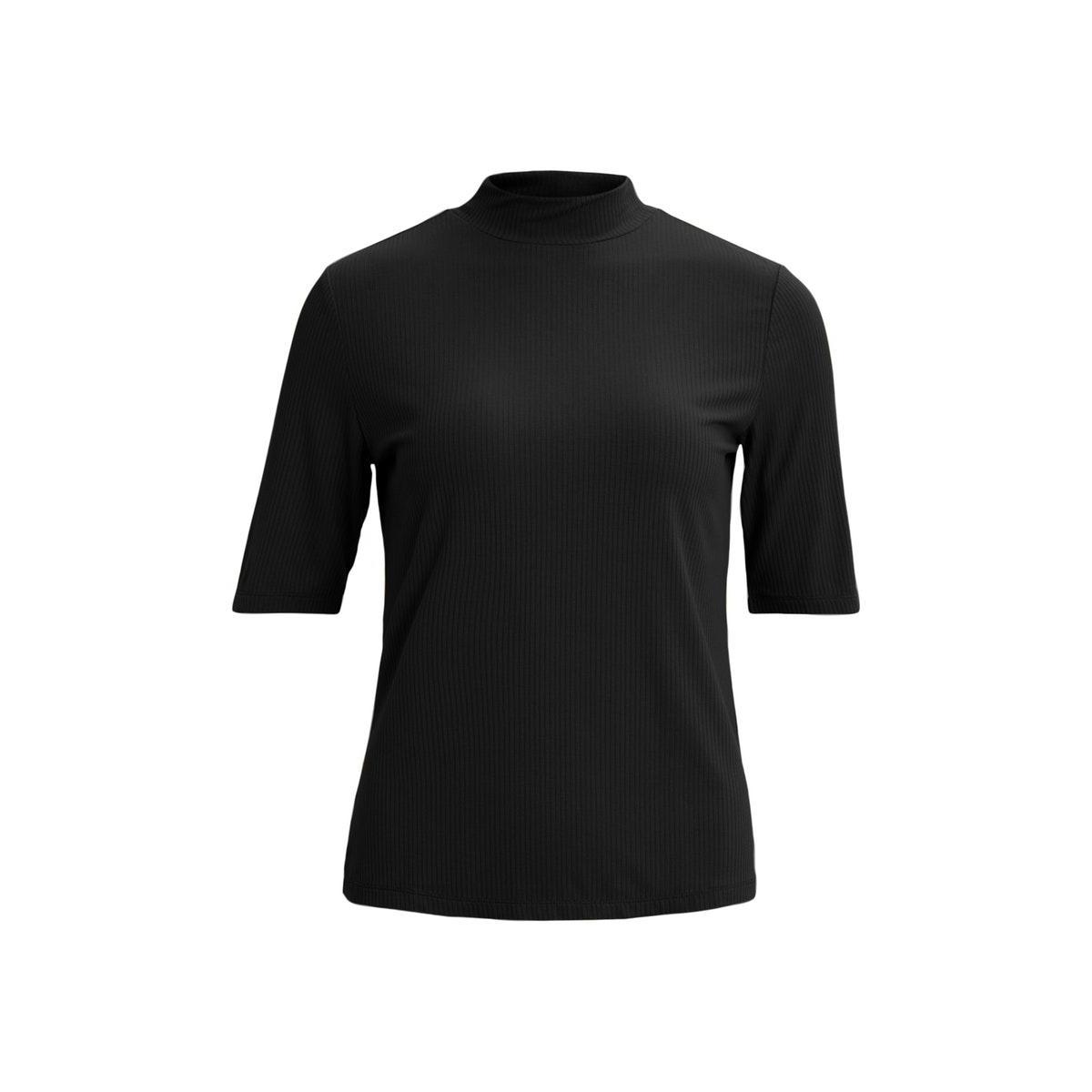 visolitta rib funnelneck 2/4 top/su 14056528 vila t-shirt black
