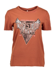Only T-shirt ONLLUCY LIFE REG S/S TOP CS JRS 15211712 Burnt Henna/FAITH