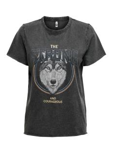 Only T-shirt ONLLUCY LIFE REG S/S TOP CS JRS 15211712 Black/STRONG