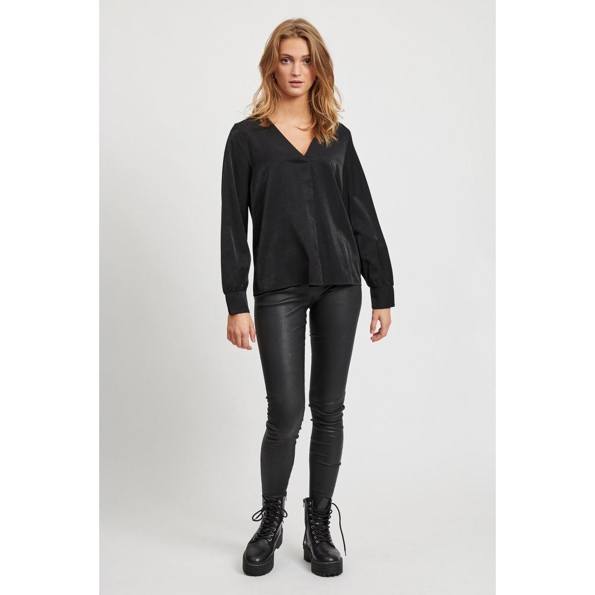 objeileen l/s v-neck top noos 23032114 object blouse black