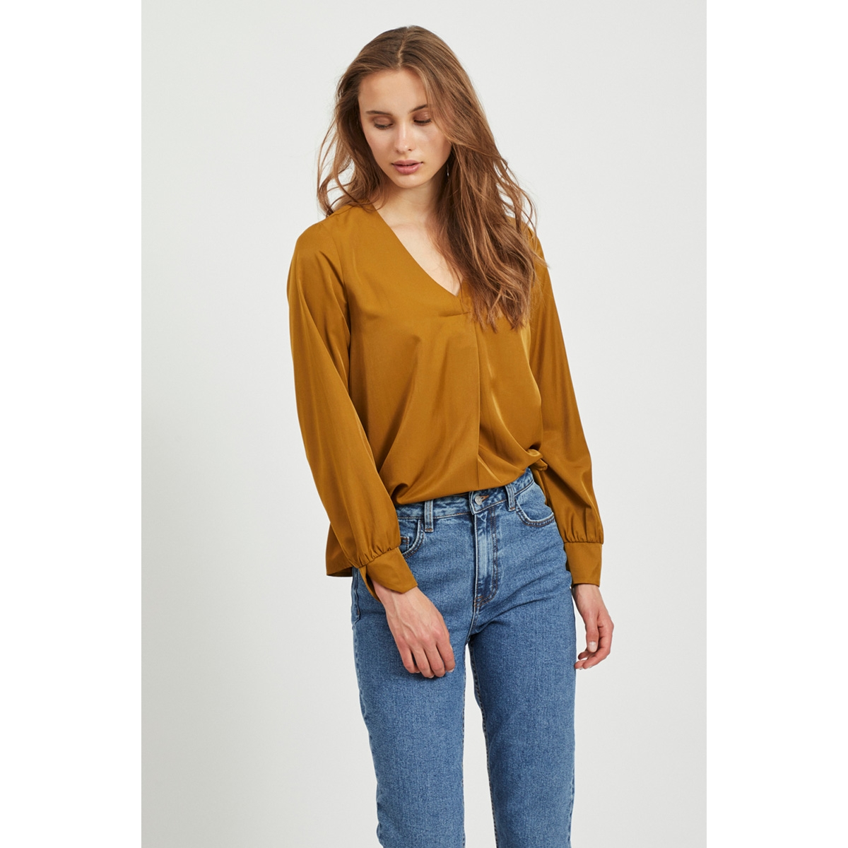 objeileen l/s v-neck top noos 23032114 object blouse tapenade