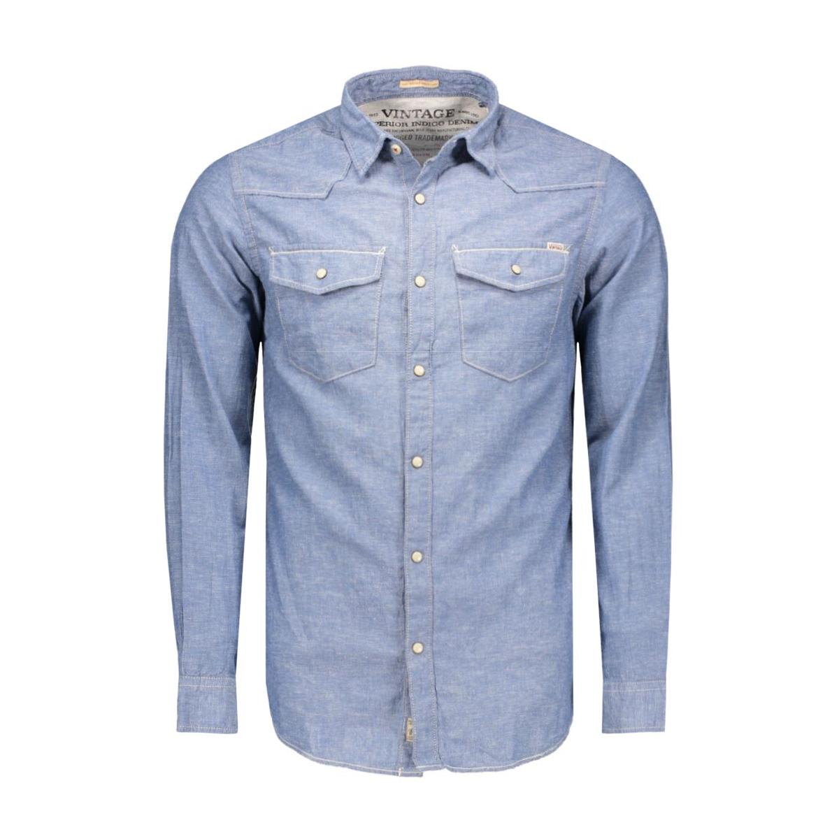 jjvarvin shirt l/s western 12108365 jack & jones overhemd provincial blue