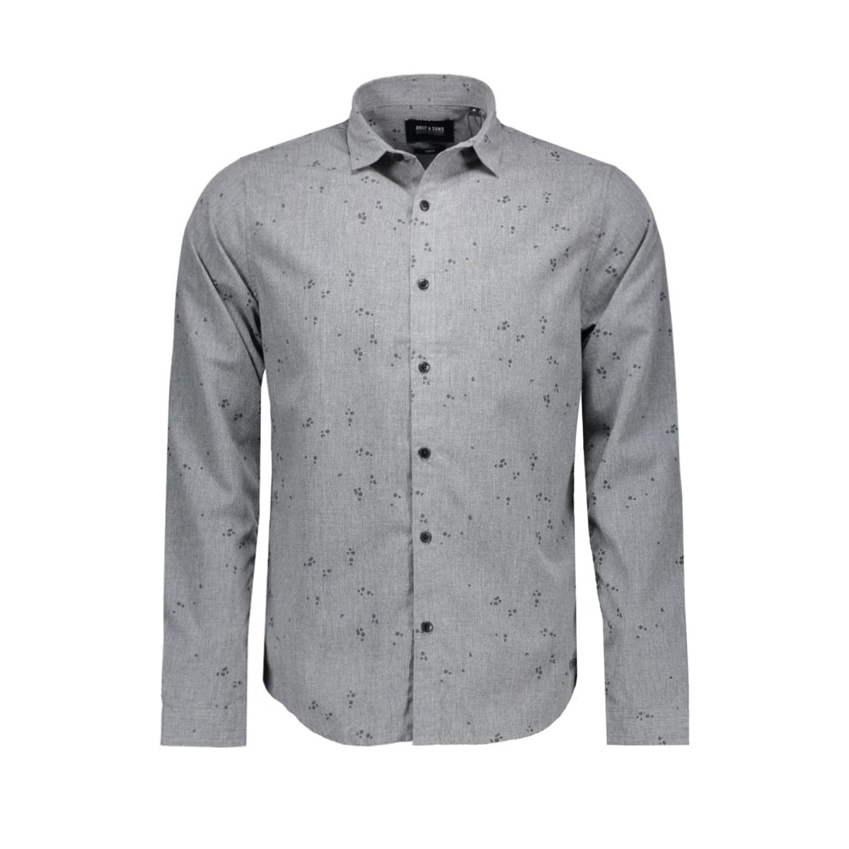 onssivel aop l/s shirt 22004263 only & sons overhemd dark grey melange