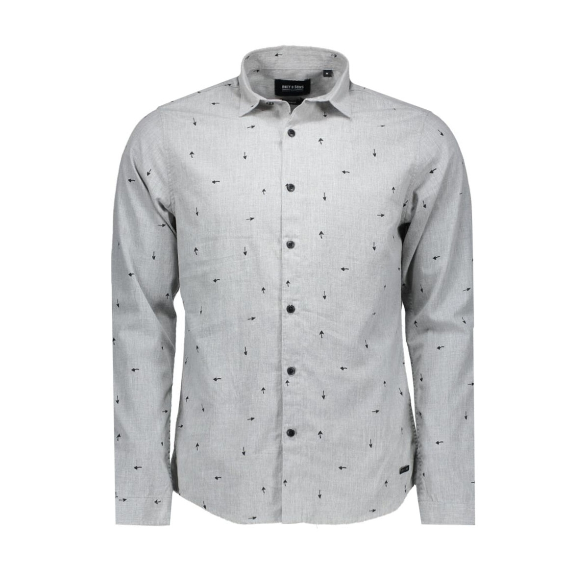 onssivel aop l/s shirt 22004263 only & sons overhemd light grey melange
