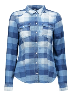 onlrock it fittted check dmm shirt 15123148 only blouse medium blue denim