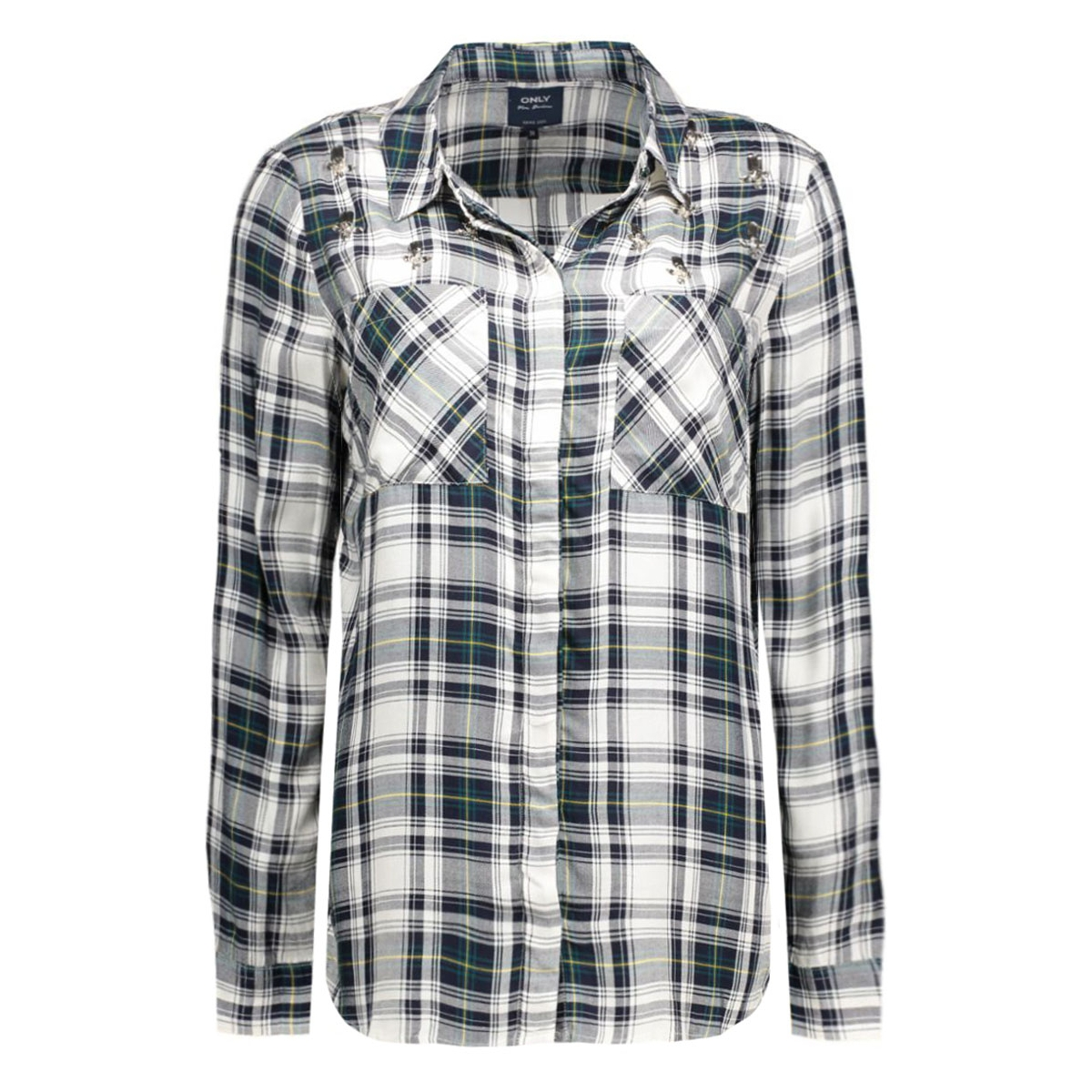onlstone l/s haley shirt  with emb 15122096 only blouse night sky