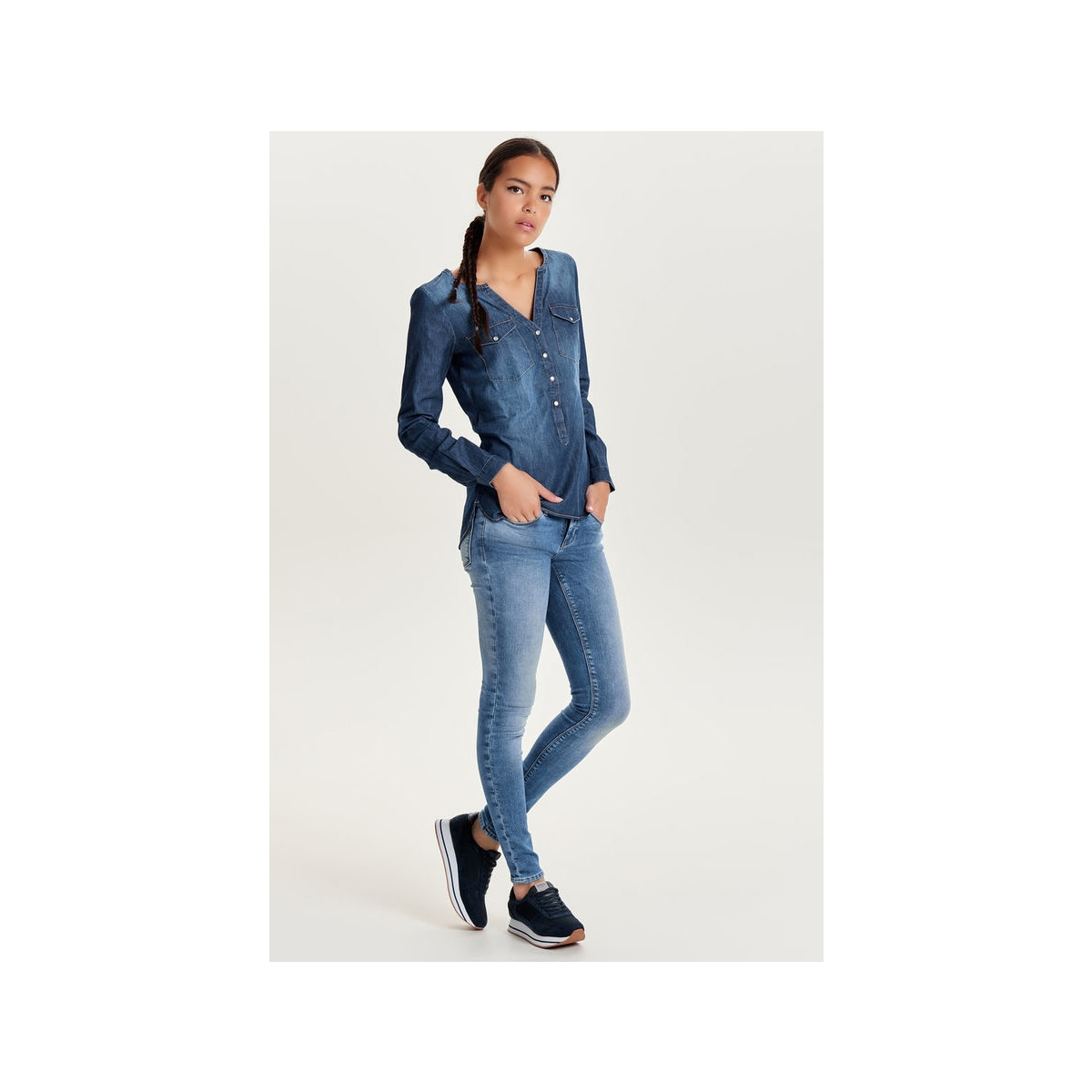 jdywyre ls placket denim shirt wvn 15129969 jacqueline de yong blouse medium blue denim