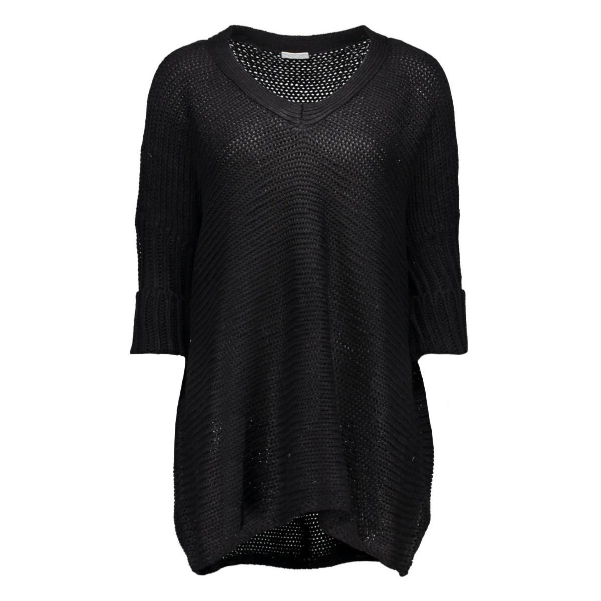 nmvera 3/4 v-neck knit top 10159942 noisy may trui black