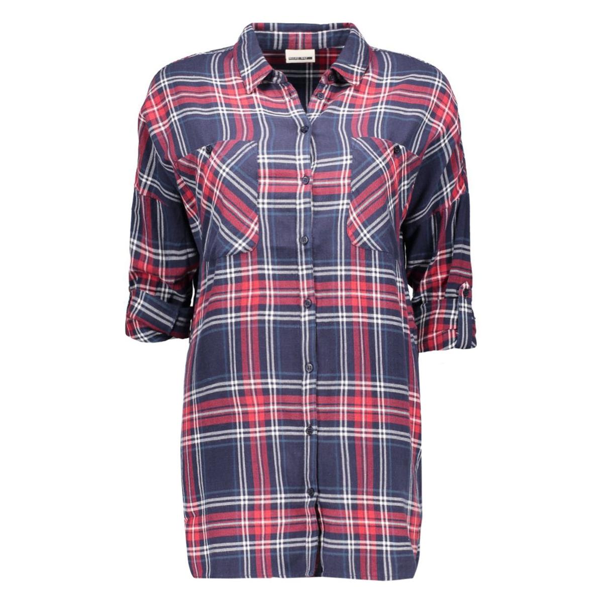 nmerik l/s oversize shirt 10162730 noisy may blouse black iris / ribbon red