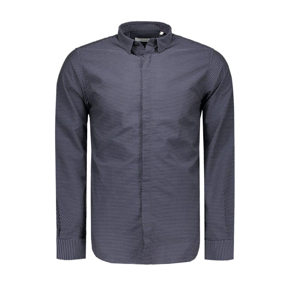 jprvito shirt l/s plain 12095138 jack & jones overhemd dark navy/harequin
