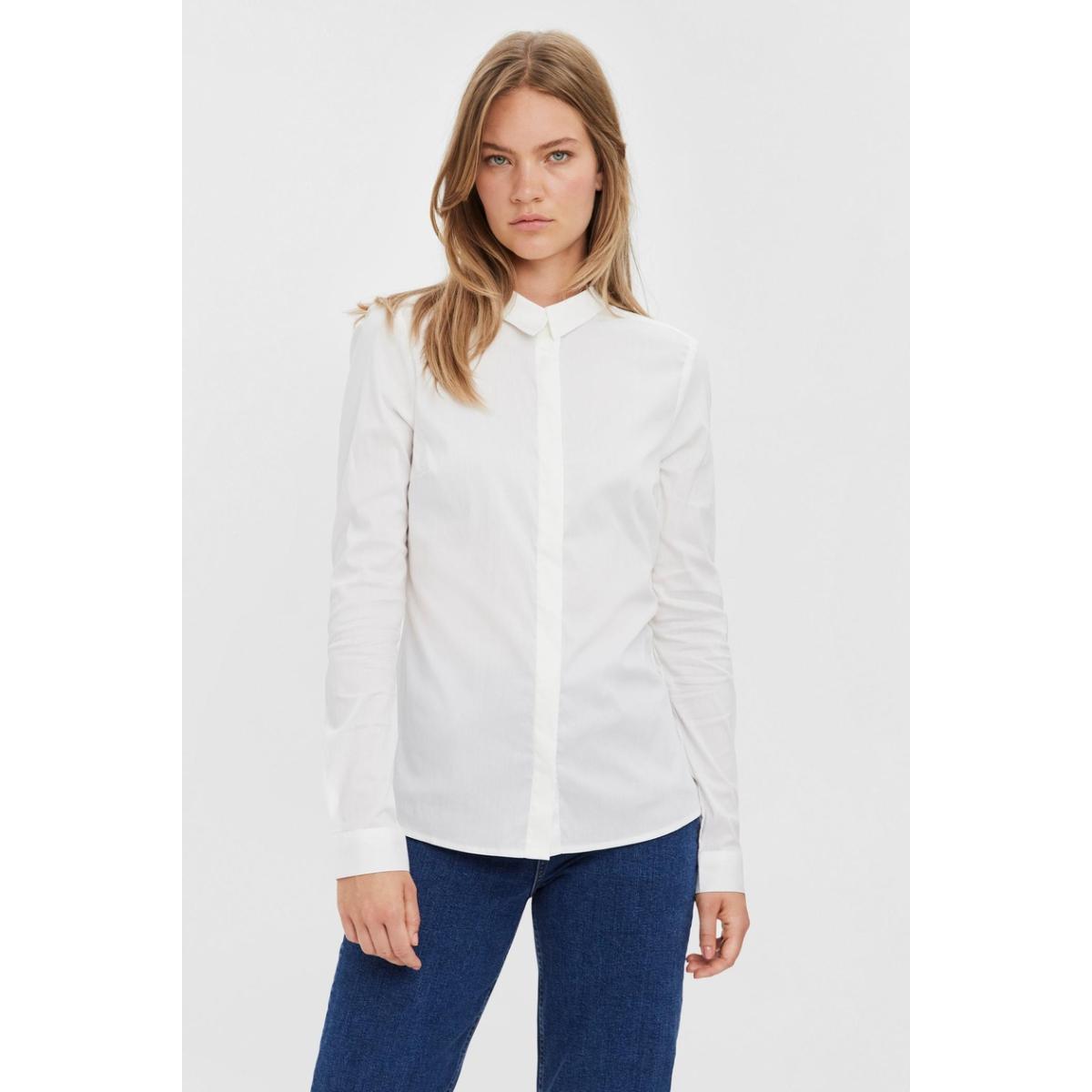 vmlady fine l/s shirt noos 10164900 vero moda blouse bright white