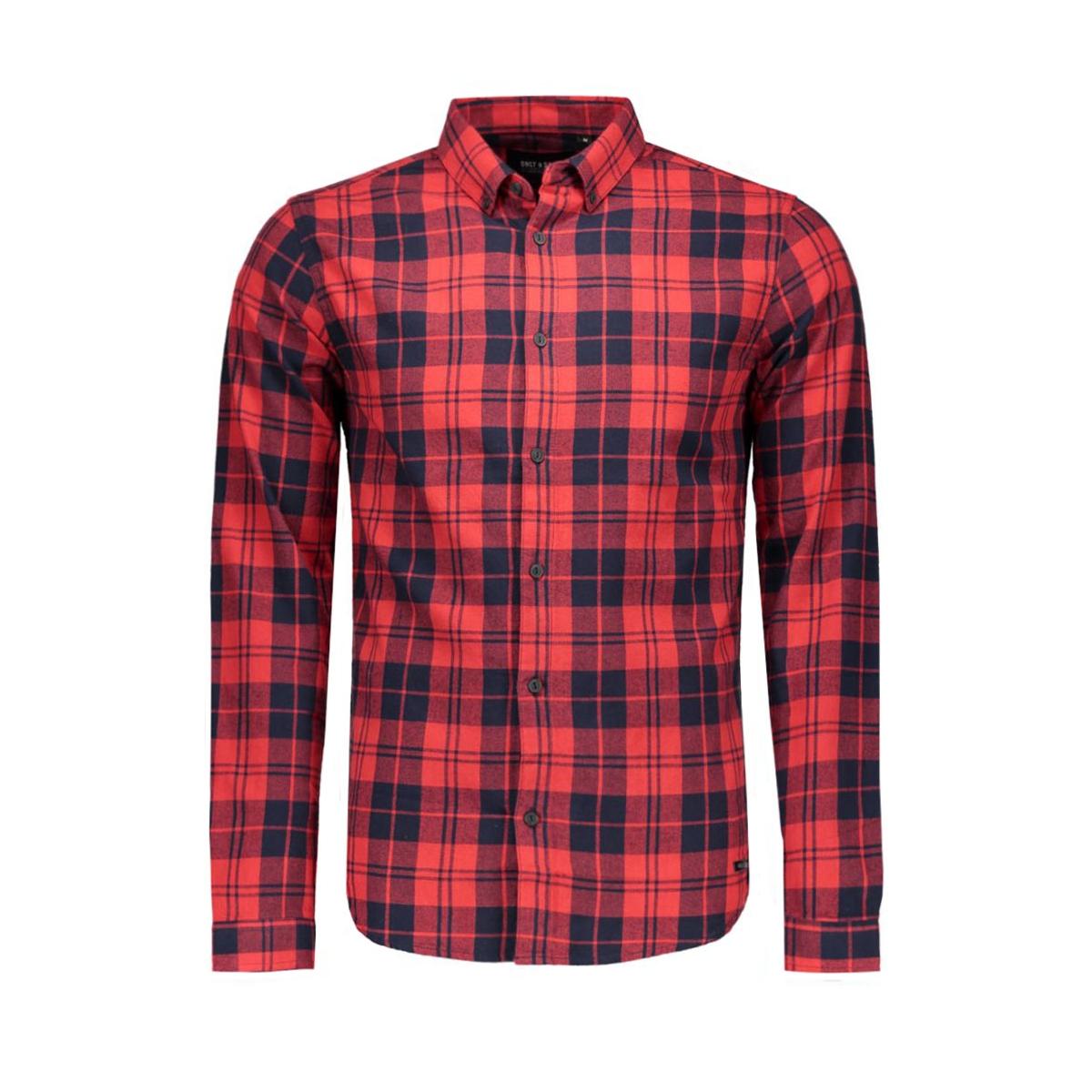 onssven ls shirt only & sons overhemd black/red checks