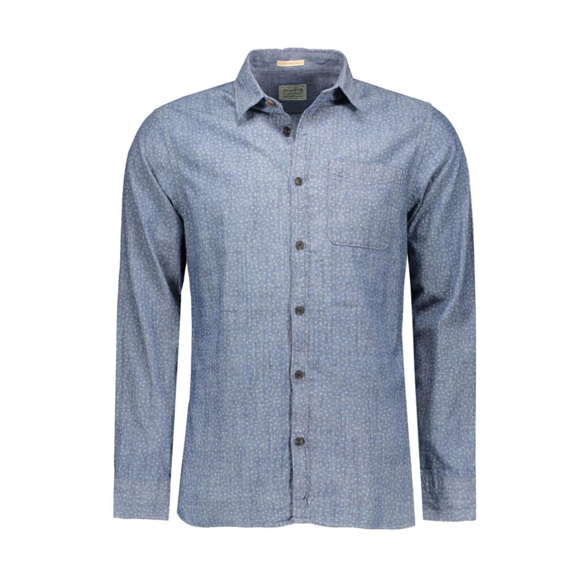 jjvcardiff shirt l/s one pocket 12112044 jack & jones overhemd mood indigo