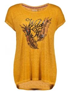 vmmia burnout animal ss top box dnm 10165013 vero moda t-shirt harvest gold/melange fa okergeel