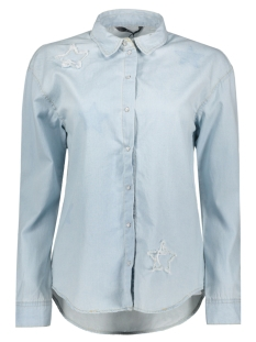 Only Blouse onlLAURA LS STAR PRINT DNM SHIRT BJ 15133188 Light Blue Denim
