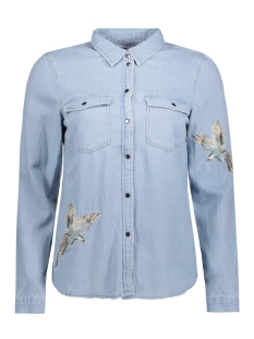 NMCATHY LS BIRD EMBROIDERY SHIRT 10175121 Light Blue Denim