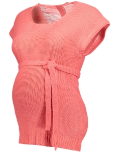 Mama-Licious Positie trui MLPAPAYA S/S KNIT BLOUSE V 20007158 Sunkist Coral