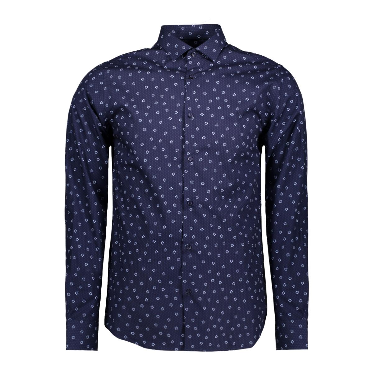 jproccasion print shirt l/s plain 12120728 jack & jones overhemd insignia blue