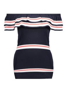 Vero Moda T-shirt VMGRACE RUFFLE OFFSHOULDER BLOUSE 10179723 Navy Blazer/ Hibiscus