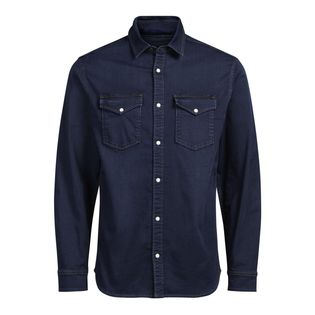 jjiethan jjshirt akm 531 indigo knit 12126734 jack & jones overhemd blue denim