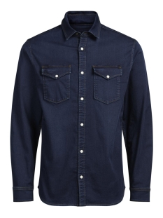 Jack & Jones Overhemd JJIETHAN JJSHIRT AKM 531 INDIGO KNIT 12126734 Blue Denim