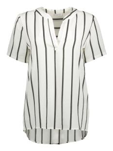 Jacqueline de Yong T-shirt JDYMY S/S PLACKET TOP WVN 15140251 Cloud Dancer/ Black