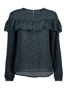 Only T-shirt onlSUI L/S RUFFLE TOP AOP WVN 15141767 Reflecting Pond/ Groen