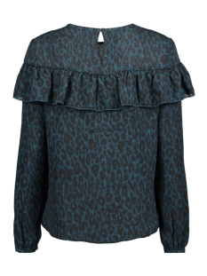 onlsui l/s ruffle top aop wvn 15141767 only t-shirt reflecting pond/ groen