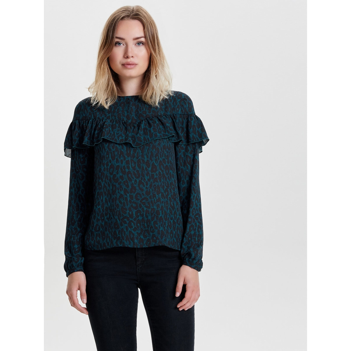 onlsui l/s ruffle top aop wvn 15141767 only blouse reflecting pond/ groen