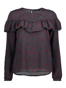 Only T-shirt onlSUI L/S RUFFLE TOP AOP WVN 15141767 Reflecting Pond/ Rood