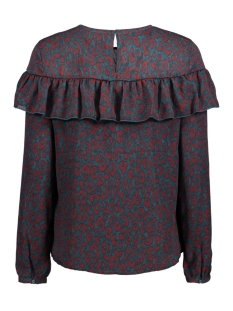 onlsui l/s ruffle top aop wvn 15141767 only t-shirt reflecting pond/ rood