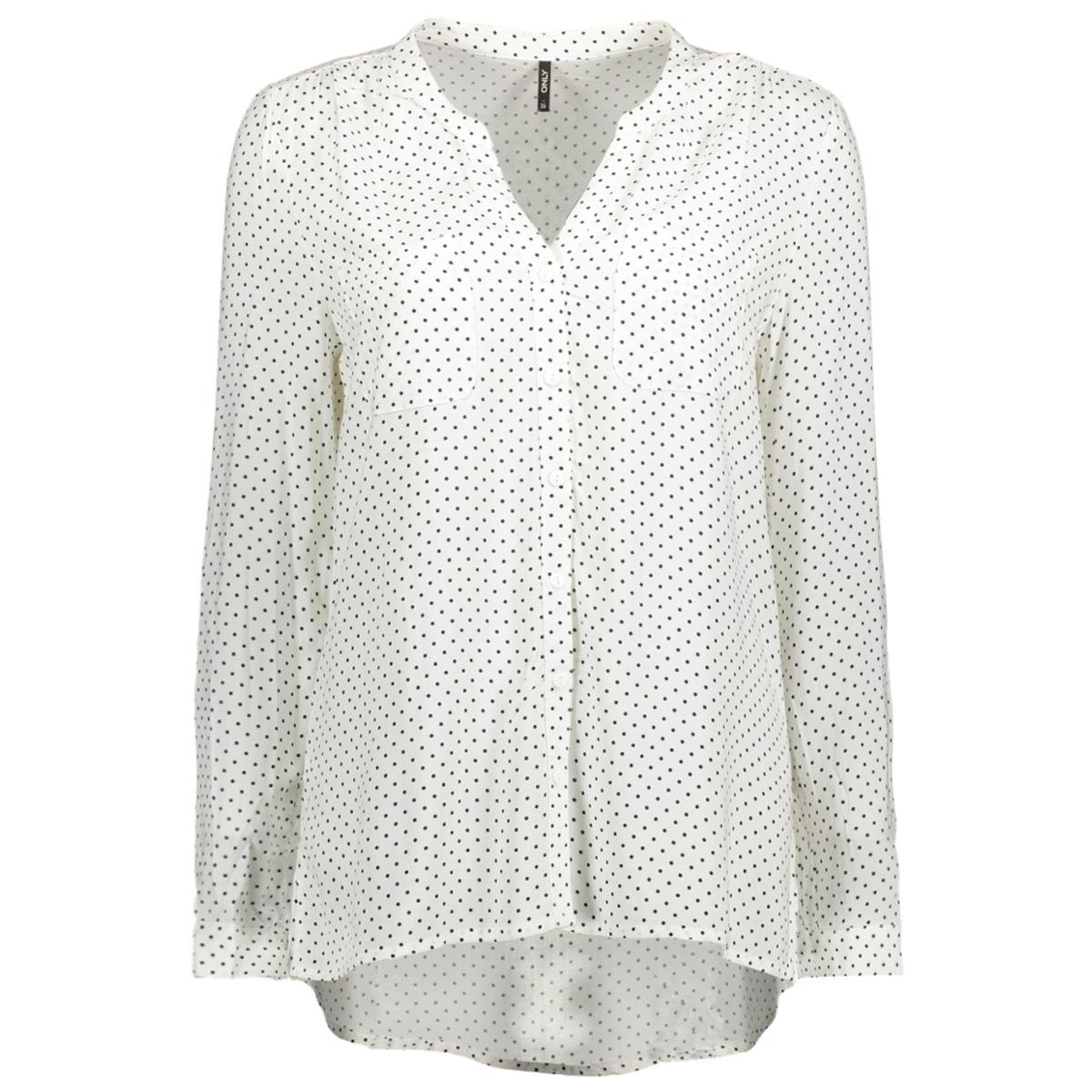 onlfirst ls pocket aop  shirt noos 15141366 only blouse cloud dancer/black dot