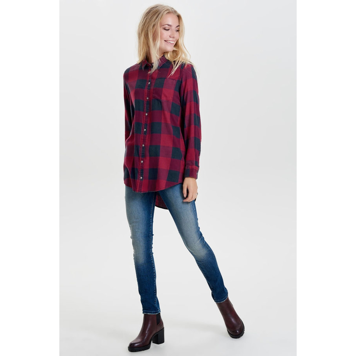 onlrock it loos check dnm shirt sbs noos 15138620 only blouse black