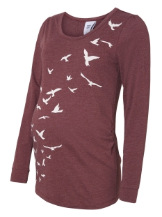 Mama-Licious Positie shirt MLELLIE L/S JERSEY TOP A V 20007676 Zindfandel/ Melange