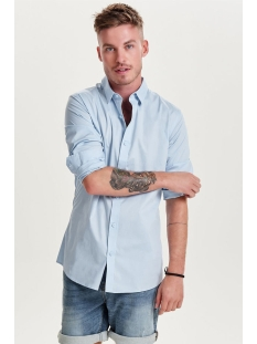 onsalfredo ls shirt ex-slim noos 22007080 only & sons overhemd cashmere blue