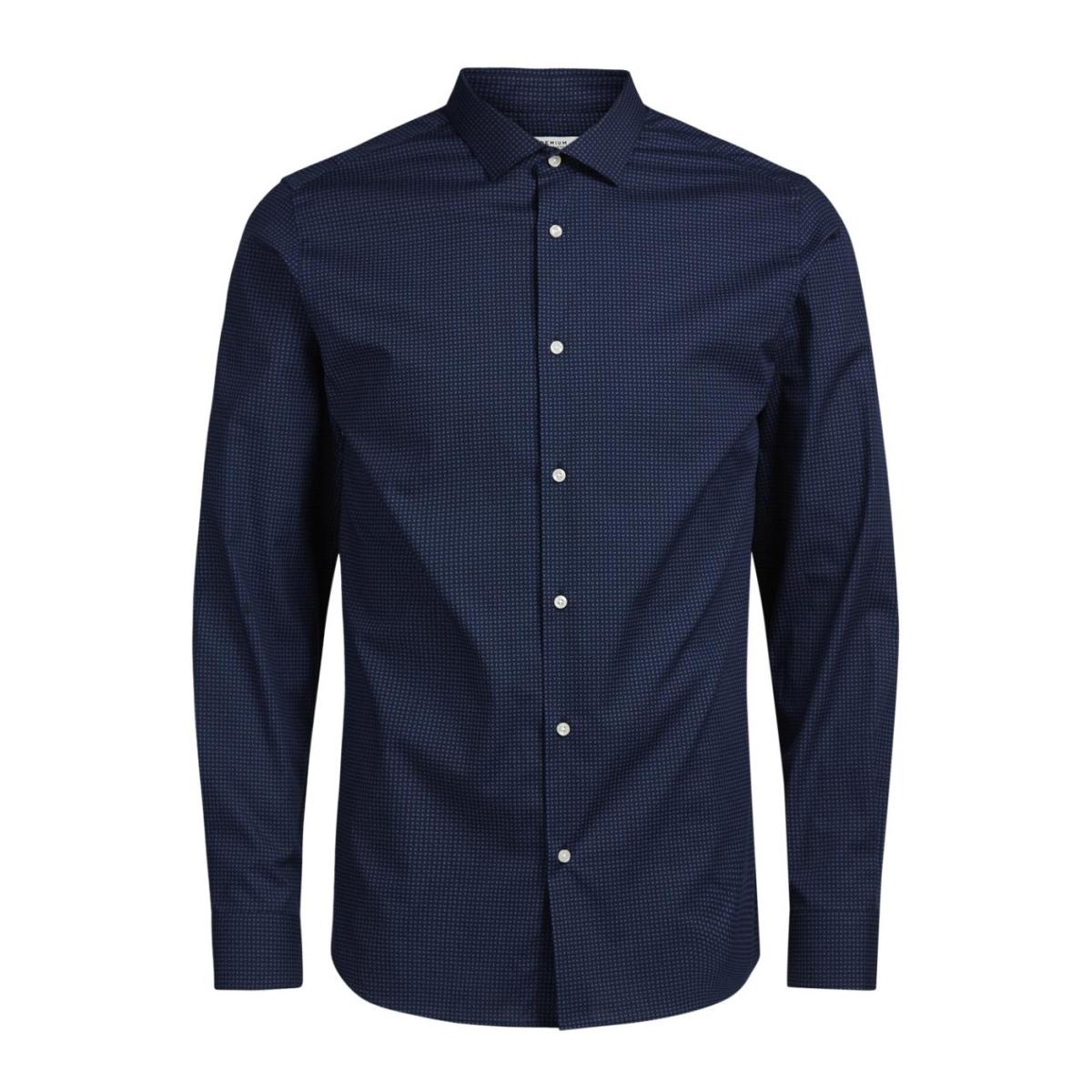 jprjose shirt l/s plain 12122830 jack & jones overhemd navy blazer
