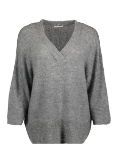 jdysoldier 3/4 v-neck pullover knt 15138663 jacqueline de yong trui dark grey melan/melange