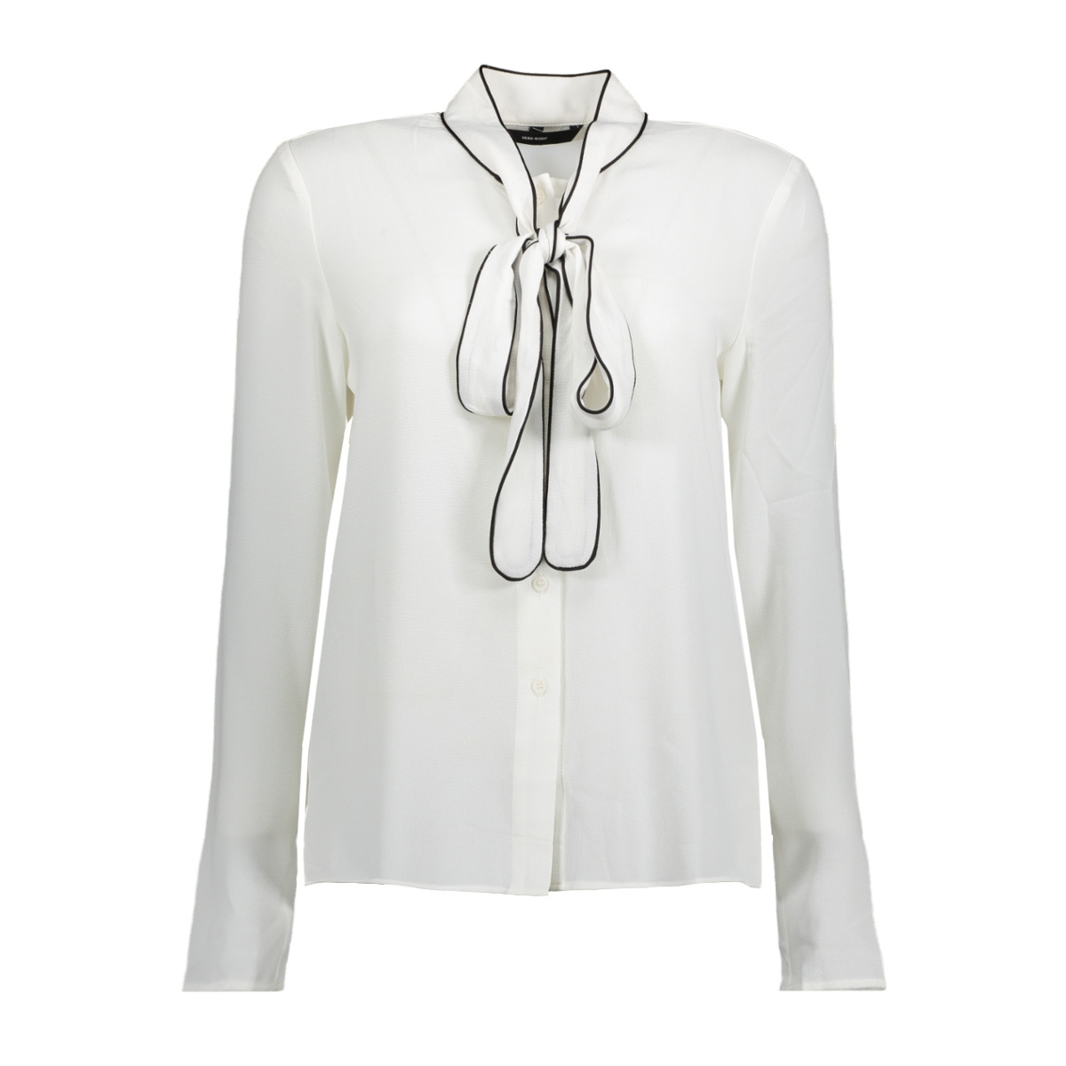 vmlauren bow l/s shirt top  d2-8 10188531 vero moda blouse snow white / black deta