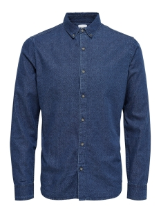 Only & Sons Overhemd onsMACE AOP LS DENIM SHIRT EXP 22008103 Dark Blue Denim INDIGO