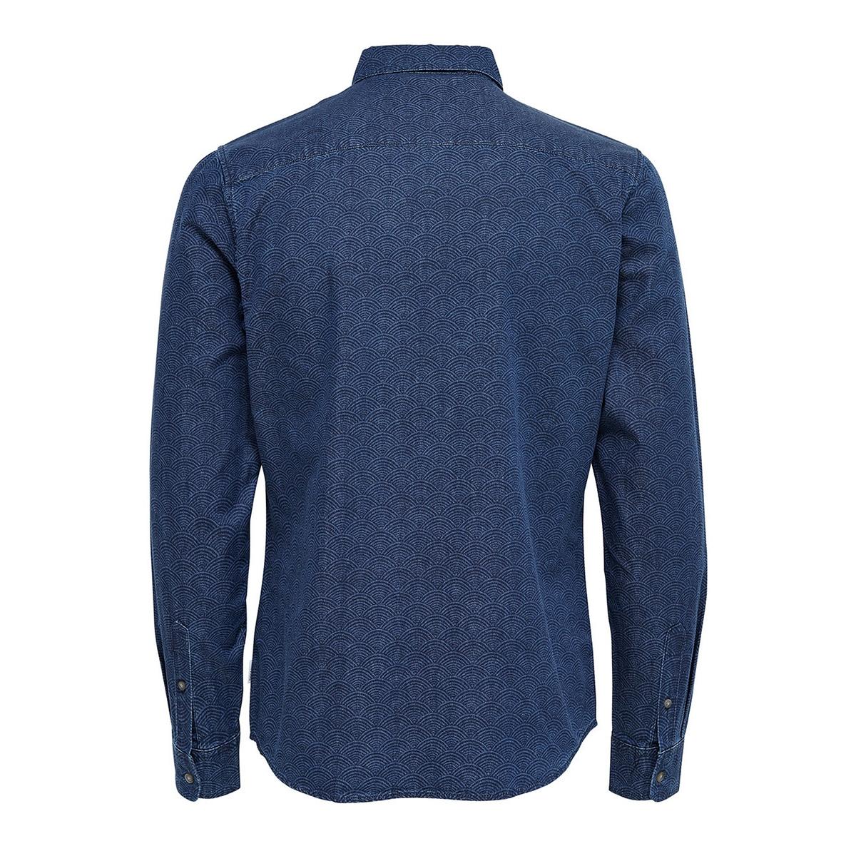 onsmace aop ls denim shirt exp 22008103 only & sons overhemd dark blue denim indigo