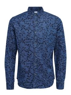 onsmace aop ls denim shirt exp 22008103 only & sons overhemd dark blue denim denim
