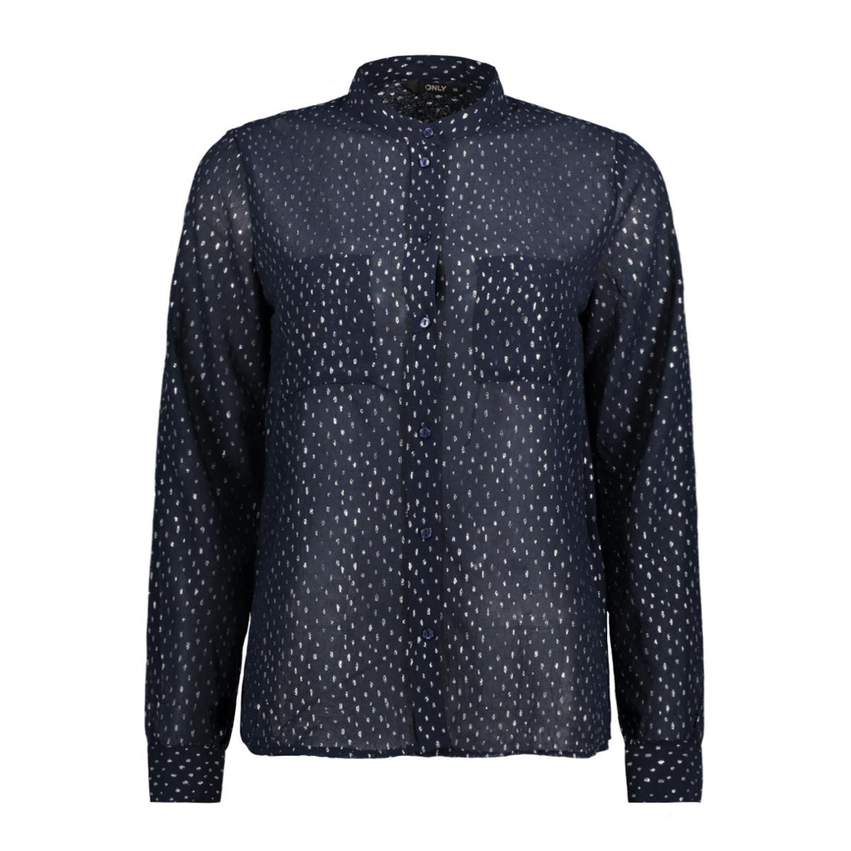 onlrosalyn l/s shirt wvn 15146997 only blouse night sky/silver foi