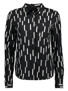 vmstinne l/s shirt d2 lcs 10199273 vero moda blouse black/snow white