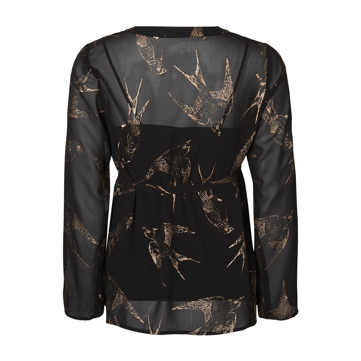 mlbird l/s woven top 20007812 mama-licious positie blouse black/bronze foi